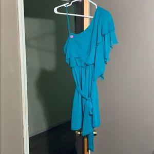 Dark Turquoise one shoulder dress.